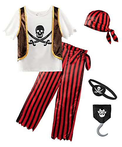 ReliBeauty Pirate Costume Enfant Déguisement Boucanier Garçon & Fille 3 Pièces Accessoires Pirate cache-oeil Pirate Crochet Halloween Carnaval 5-6ans 110