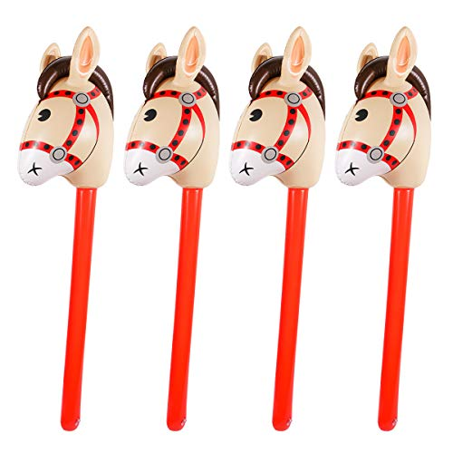 4PCS Inflatable Stick Horse for Kids - Pony/Western Cowboy/Horse Baby Shower Birthday Party Decorations Supplies Favors Inflatable Horse Head Costume Stick (37 Inches)