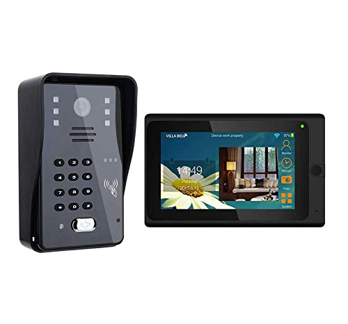 Jxiao 7inch WiFi RFID Video Door Phone Doorbell Intercom Entry System with 1000TVL Camera Night Vision,Support Remote APP Unlocking,Recording,Snapshot