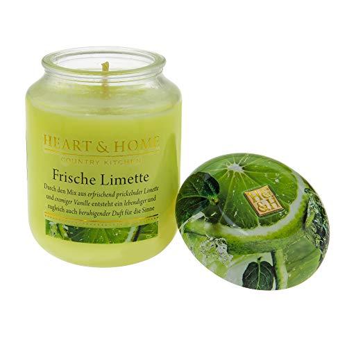 Heart & Home Duftkerze Frische Limette, lebendiger, beruhigender Duft mit Vanille, Sojawachs-Kerze im Glas, brennt bis zu 75 h, vegan, 340 g