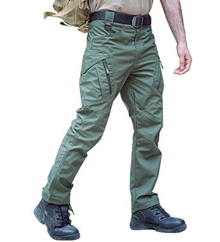 Tacvasen Pantaloni Militari Tattici All'Aperto Escursionismo Pantaloni A Piedi Lavoro Cargo Pantaloni Cachi Per Uomo {Verde Militare 32}