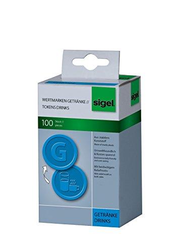 SIGEL WM007 Wertmarken Chips / Pfandmarken Getränke, blau, 100 Stück