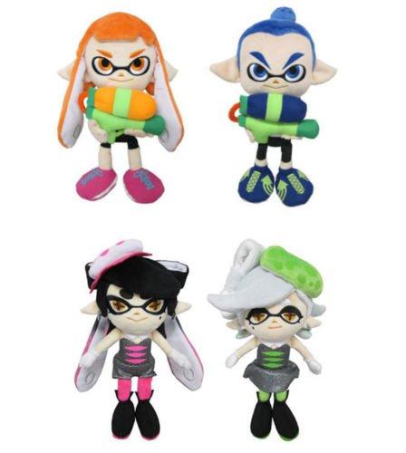 Sanei Male Inkling, Female Inkling, Marie Green & Callie Pink Squid Sisters Splatoon Series Plush (Set of 4)
