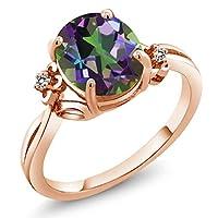 Gem Stone King 2.73カラット 天然石 ミスティッククォーツ (グリーン) 指輪 リング レディース 天然 ダイヤモンド シルバー925 ピンクゴールドコーティング