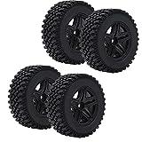 4PCS RC Car Tire and Hub Set, RC Metal Wheel Hub con Goma para MN86K 1/12 RC Car Tire Diámetro 80 mm Ancho 30 mm