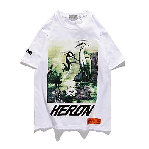 HP Green Crane camiseta impresión manga corta camiseta hombres mujeres hip-hop BF estilos algodón camiseta blanco