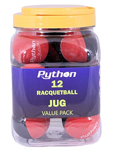 Python RG Multi Colored Racquetballs (Value Pack - 12 Ball Jug/Endorsed by Racquetball Legend Ruben Gonzalez!)(Black/Red)