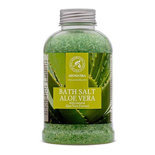 Sel de Bains a Aloe Vera 600g - Sel de mer Naturel à l'extrait Pur Aloès - Sels Aloe Vera 600g - Soin du Corps - Bon Sommeil - Beauté - Bain - Soin du Corps - Bien-Etre - Détente - Spa