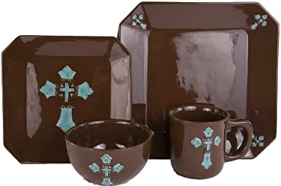 HiEnd Accents Western Cross Dinnerware Set