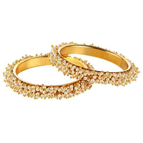 Efulgenz Fashion Jewellery - Juego de pulseras de perlas de imitación de Bollywood (2 piezas)