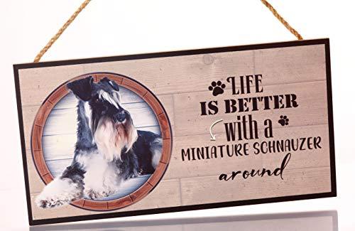 Cartel Decorativo de Madera Miniature Schnauzer. Regalo Detalle Original para Amantes de los Animales y Mascotas.Elige la Raza de tu Perro o Gato Preferido y Decora tu casa.Texto Frase en inglés.