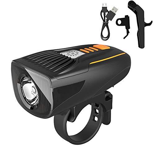 Roeam Luz Delantera Bicicleta,Luz Bicicleta Recargable por USB,Luz Bicicleta Potente Delantera,IP64 Impermeable,Fácil de Montar y Desmontar