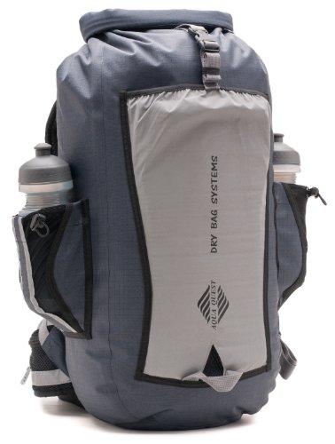 Aqua Quest SPORT 25 PRO Backpack - 100% Waterproof Reflective Dry Bag 25L with Padded Straps, Waist Belt, Water Bottle Pockets, Foam Back Panel - Grey
