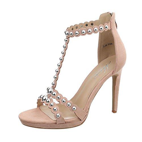 Ital-Design High Heel Sandaletten Damen-Schuhe Pfennig-/Stilettoabsatz Heels Reißverschluss Sandalen & Altrosa, Gr 37, C-36-