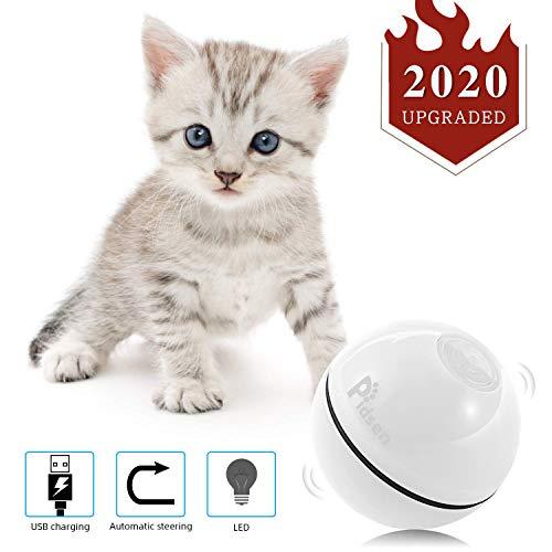 Pidsen Juguetes Gatos Pelotas, Bola de Gato, Juguete Interactivo Gatito Carga USB Bola Giratoria Automática, Bola Eléctrica de 360 Grados con luz LED para Animal Doméstico Gatos