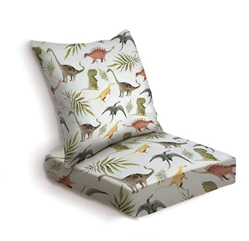 2-Piece Outdoor Deep Seat Cushion Set Hand drawing watercolor сhildren's pattern of cute dino and tropical Back Seat Lounge Chair Conversation Cushion for Patio Furniture Replacement Seating Cushion
