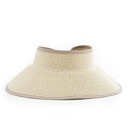 San Diego Hat Company Signature Women's Ultrabraid Large Brim Visor with Ribbon Binding & Sweatband, Sun Hats for Women, Multi Natural