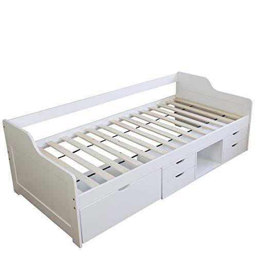 Homestyle4u 1422 Holzbett Kiefer massiv, Einzelbett aus Bettgestell mit Lattenrost und Schubladen, 90x200 cm, Weiß