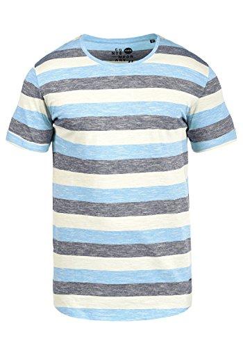 !Solid Thicco Herren T-Shirt Kurzarm Shirt Mit Streifen Und Rundhalsausschnitt 100% Baumwolle, Größe:L, Farbe:Azure Blue (2203)