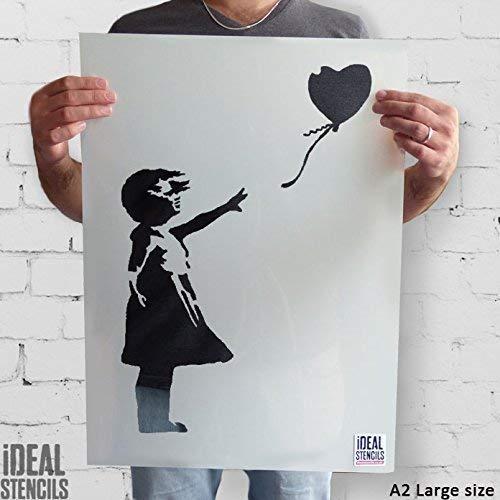 Banksy Ballon Mädchen Schablone wiederverwendbar startseite-wand-dekor Schablone Graffiti Banksy Stil Kunst Schablone Wandfarbe Stoffe & Möbel - halb transparent Schablone, XL/ 54X78CM