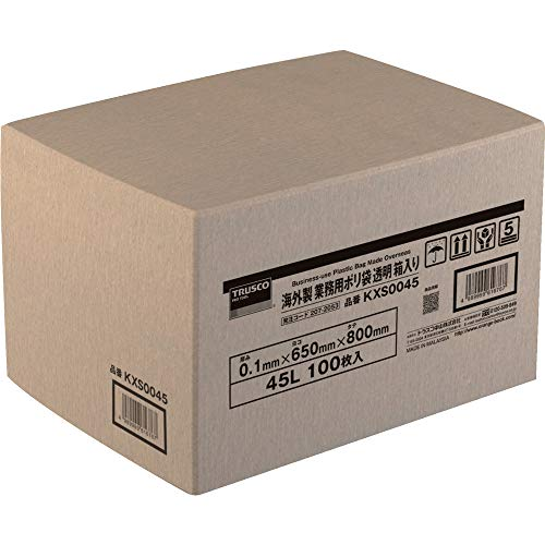 TRUSCO 海外製 業務用ポリ袋 透明・箱入 0.1×45L 100枚入 KXS0045