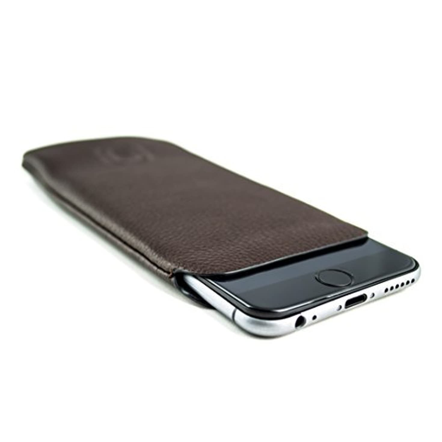 Dockem Synthetic Leather Sleeve for iPhone 8, iPhone 7, iPhone 6 and 6S - Ultra Slim Professional Executive Faux Leather Pouch Case (Dark Brown)