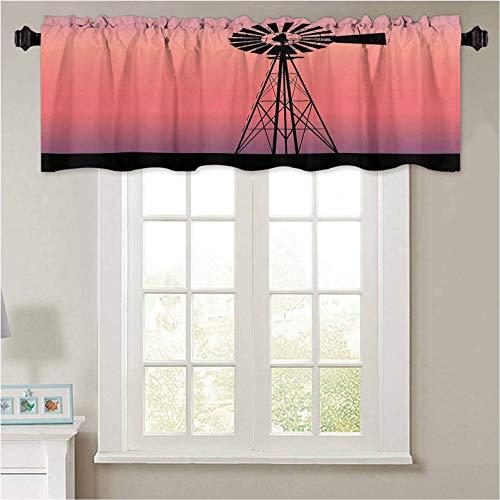 YUAZHOQI cenefas de ventana decoración molino de viento silueta en Dreamlike Sunset Western Ra 1 panel de 91,4 x 45,7 cm con aislamiento térmico para sala de estar