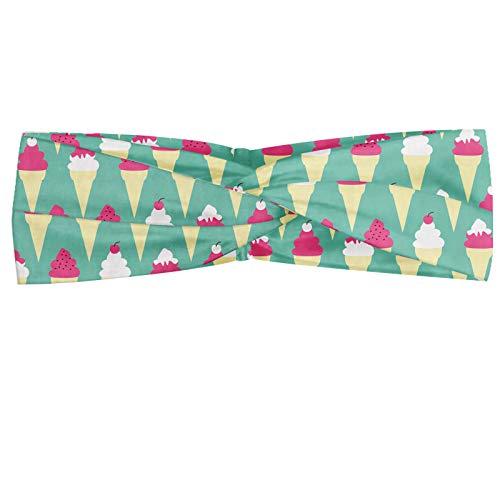 ABAKUHAUS Creme und Weiß Halstuch Bandana Kopftuch, Eistüte mit Toppings Kirsche auf der Oberseite Pop-Art-Art-Motiv, Elastisch und Angenehme alltags accessories, Seafoam Sahne- und rosa