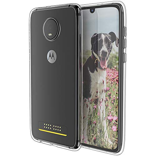 Moto Z4 Handyhülle, transparent, Motorola Z4 Play, dünn, weich, Silikon, TPU, leicht, kratzfest, stoßfest, erhöhte Schutzhülle für Moto Z4 Play, kristallklar