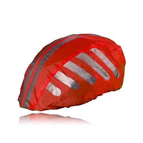 HINRI Reißfeste Fahrradhelm Abdeckung   100% wasserdicht, mit Reflektoren   Elastische Regenkappe - Für jeden Helm geeignet (Rot)