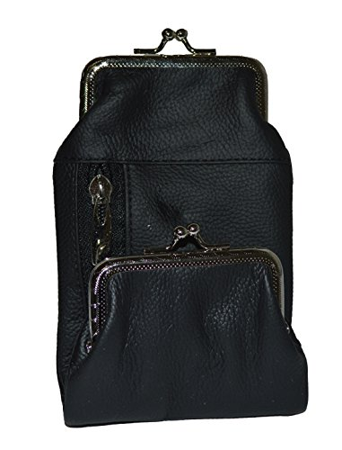 Genuine Leather Cigarette and Lighter Case with Twist Clasp by Leatherboss (Black)