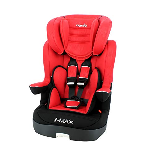 Siège auto IMAX groupe 1/2/3 (9-36kg) avec protection latérale et têtière réglable - fabrication française - Rouge