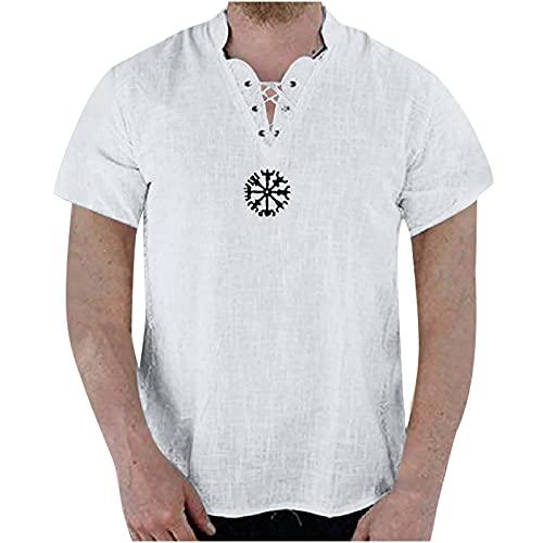 Camiseta de manga corta para hombre, de algodón y lino, de color liso, de manga corta con cuello en V, de moda, blanco, XXL