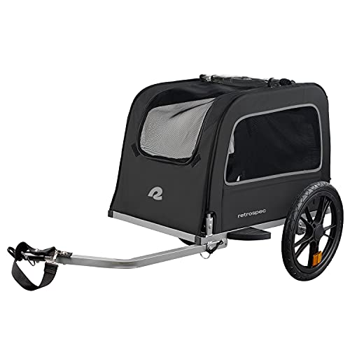 Retrospec Rover Hauler Pet Bike Trailer - Small & Medium Sized Dogs Bicycle Carrier - Foldable Frame with 16 Inch Wheels - Non-Slip Floor & Internal Leash - Black, One Size