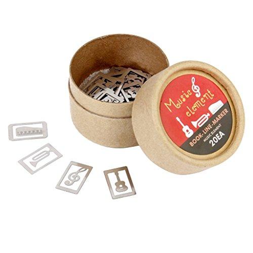 Box Styles Lesezeichen - SODIAL(R)Silber Klassische 20 Stk/box 4 Stile Metall Lesezeichen Souvenirs mit Box - Musikinstrument
