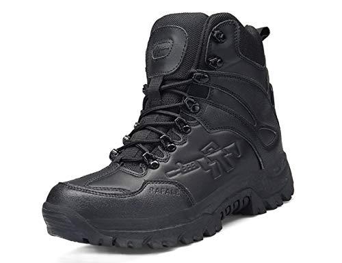 IYVW Hombres Ejército Militar Táctico Deportes al Aire Libre Camping Senderismo Trabajo de Combate Cordones Transpirable Alto Top Cremallera Lateral Desierto Zapatos de Cuero Botas