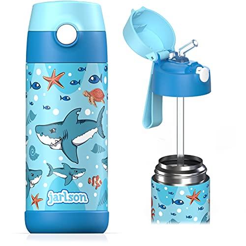 Jarlson Borraccia Bambini Acciaio Inox, Bottiglia Termica, Senza BPA, Bottiglia Acqua con Cannuccia, Termos 350 ml (Squalo, 350)