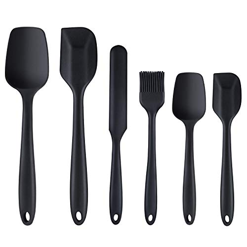 Silicone Spatula 6 Piece Nonscratch Heat Resistant Rubber Spatula with Stainless Steel Core Non Stick and Great Grips Spatulas for Cooking Baking and Mixing Black