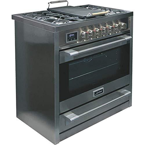 Kaiser HGE 93505 R Gaz Electrique Cuisinière 90cm Four électrique Cuisinière  115L   Plaque de cuisson au gaz  4,5 Kw WOK  8 fonctions Autonettoyage Gaz naturel et propane possibles Qualité de luxe