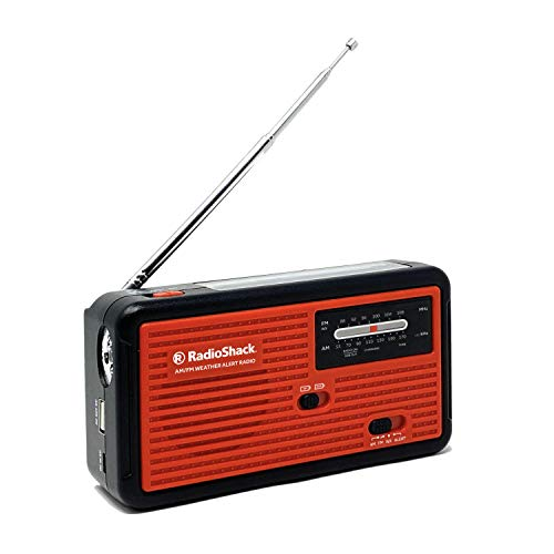 RadioShack Emergency Radio – AM/FM/WX Radio to Receive NOAA Weather Alerts – Solar Panel, Hand Crank, or USB Charging – Includes Built-in Flashlight and Cell Phone Charger