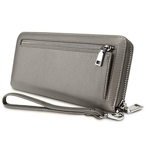 YALUXE Geldbörse Damen Echtleder RFID Security Zipper Wallet mit Wristlet Strap für Card Passport Phone Grau