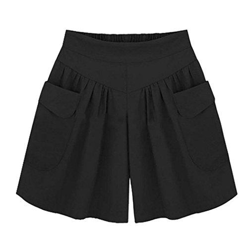 Logobeing Tallas Grandes de Las Mujeres Pantalones Cortos Bolsillos Sueltos Sólidos Casual Verano Playa Deporte Shorts