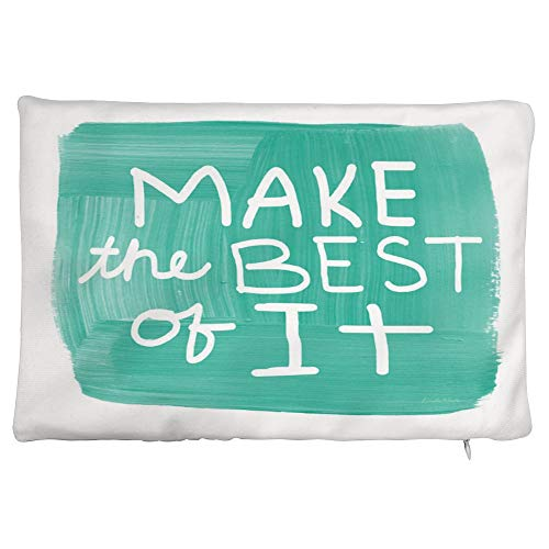 onepicebest Satin Pillowcase for Hair and Skin, Make The Best of It Pillow Cover, Soft Breathable Smooth Both Sided Pillow Case, 12 x 20 Inch