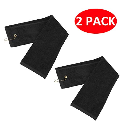 LERTREE 2 Pack Golf Tri-Fold Towel with Metal Carabiner Clip Sports Hiking Black 12inch x 16inch