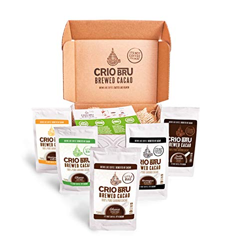 Sampler Starter Kit/ Set (5 Varieties) | Natural Healthy Brewed Cacao Drink | Great Substitute to Herbal Tea and Coffee | 99% Caffeine Free | Keto Whole-30 Honest Energy (Kit (No French Press))