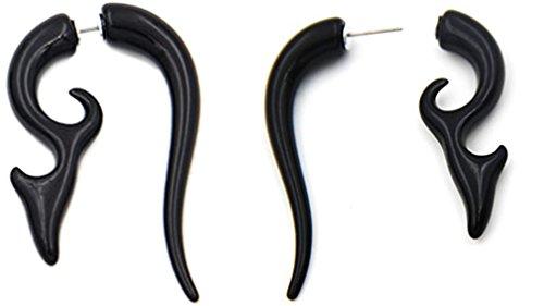 Thenice Hip-Hop Punk Rock Tribal Style Snails Ear Expansion Earrings Studs (Black No.3)