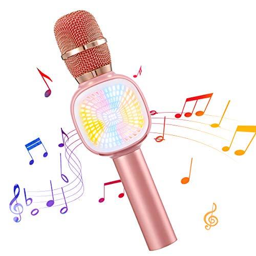 Karaoke Bluetooth Microphone for Kids,NASUM Karaoke Bluetooth Microphone Wireless,5 Modes Magic Sing Voice Changer,3 in 1 Portable Handhold Karaoke Speaker with LED Lights, Pink