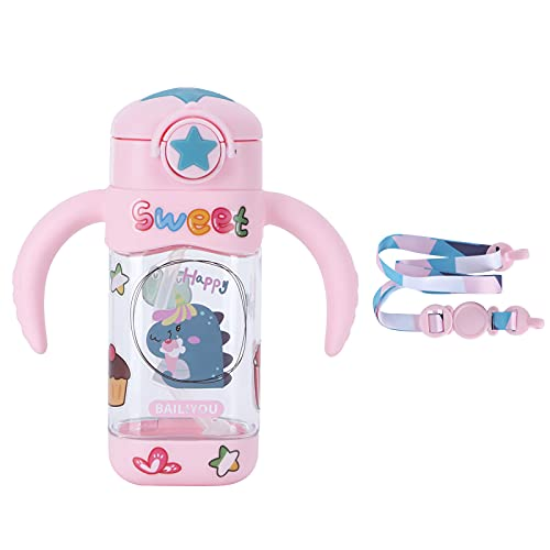 Vaso para sorber con pajita y boquilla Vaso para botella de vidrio para niños pequeños con asas Bebidas para niños Botellas de agua Pegatina DIY 400ml(Rosa)