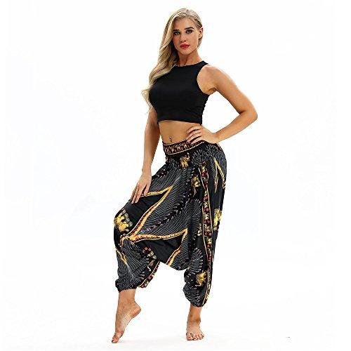 AMOMA Damen Aladin Hippie Pants Haremshose Yogahose Pumphose Plunderhose(Free Size,Gold Eye Elephant)