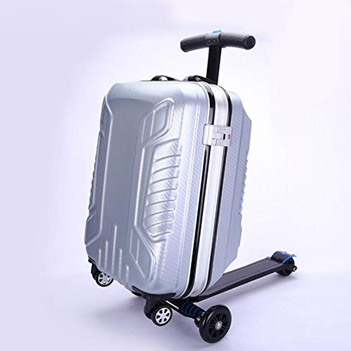 DXFK.AM Luggage Scooter, 21 inch Scooter Suitcase Folding Rolling Suitcase & Trolley Multifunctional Travel Trolley Luggage,Silver
